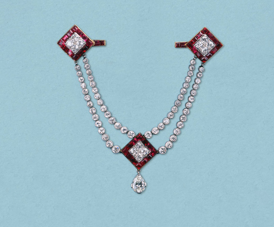 Art Deco ruby and diamond brooch-pendant
