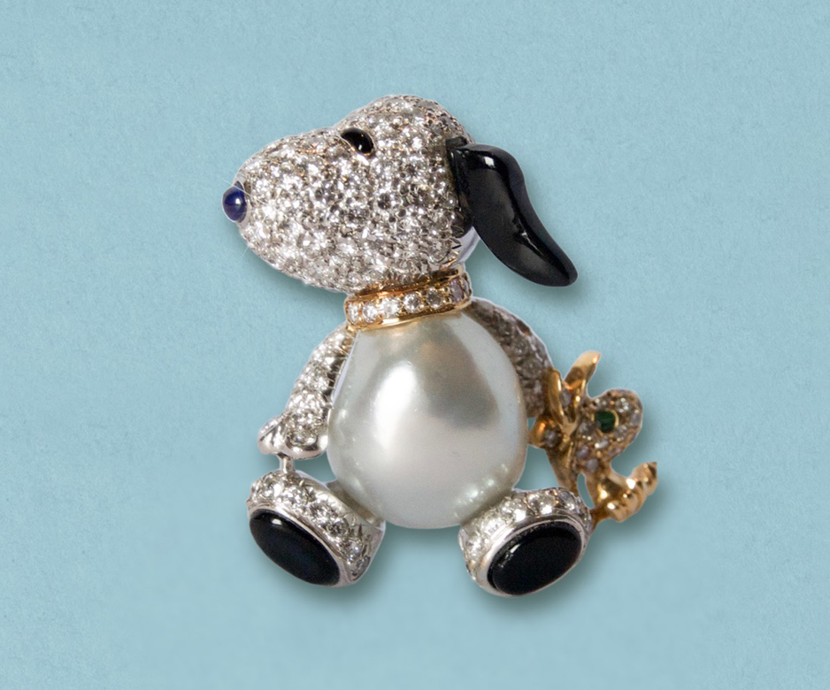 "Gemstone ""Snoopy"" brooch"