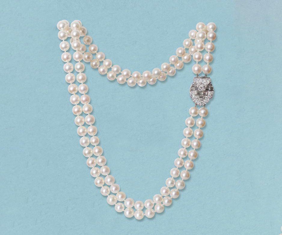 Art Deco pearl and diamond necklace