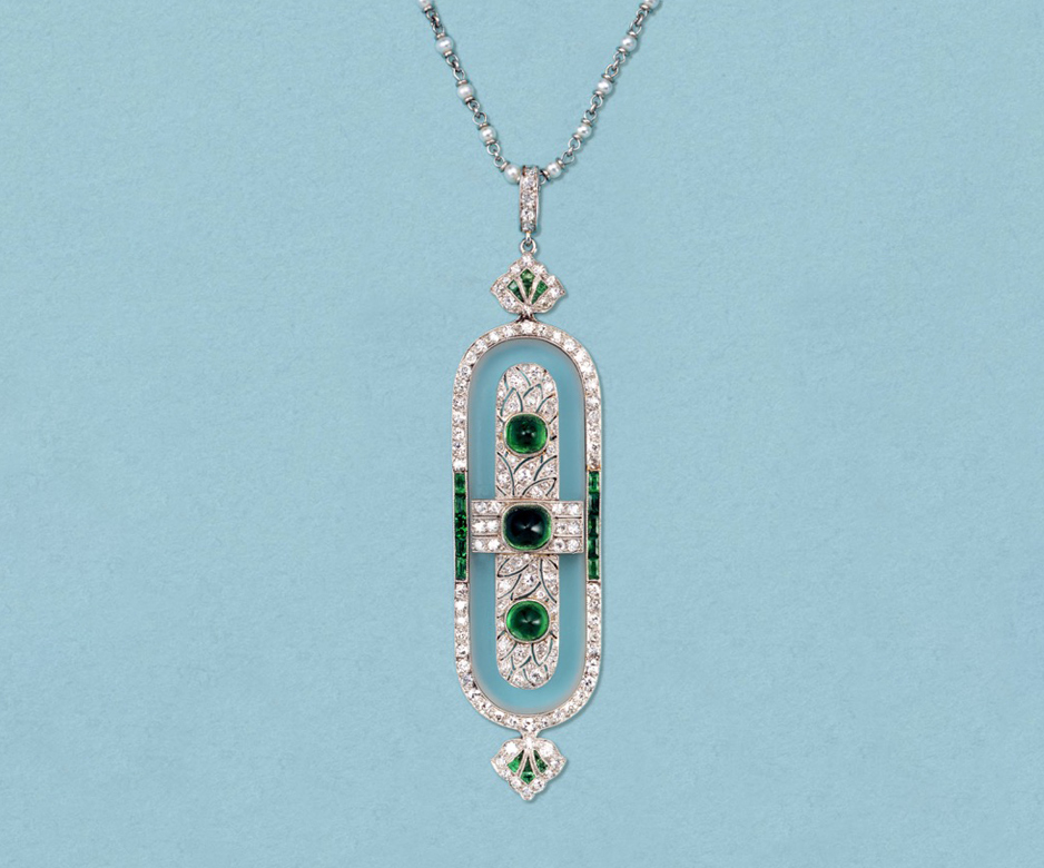 Art Deco rock crystal, diamond and emerald brooch-pendant
